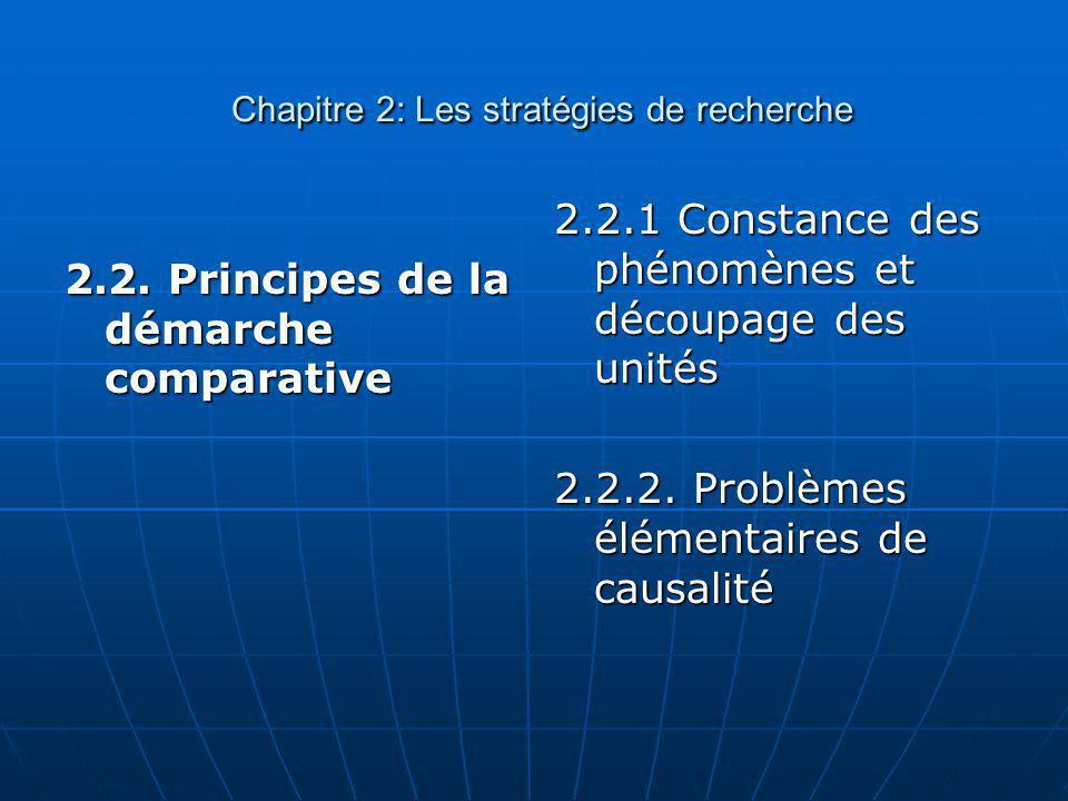 Chapitre 2: Les stratégies de recherche Chapitre 2: Les stratégies de recherche 2.2. Principes de la démarche comparative 2.2.1 Constance des phénomèn
