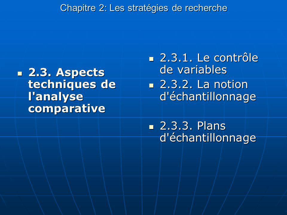 Chapitre 2: Les stratégies de recherche 2.3. Aspects techniques de l'analyse comparative 2.3. Aspects techniques de l'analyse comparative 2.3.1. Le co