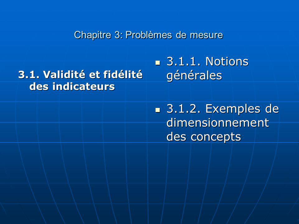 Chapitre 3: Problèmes de mesure Chapitre 3: Problèmes de mesure 3.1. Validité et fidélité des indicateurs 3.1.1. Notions générales 3.1.1. Notions géné