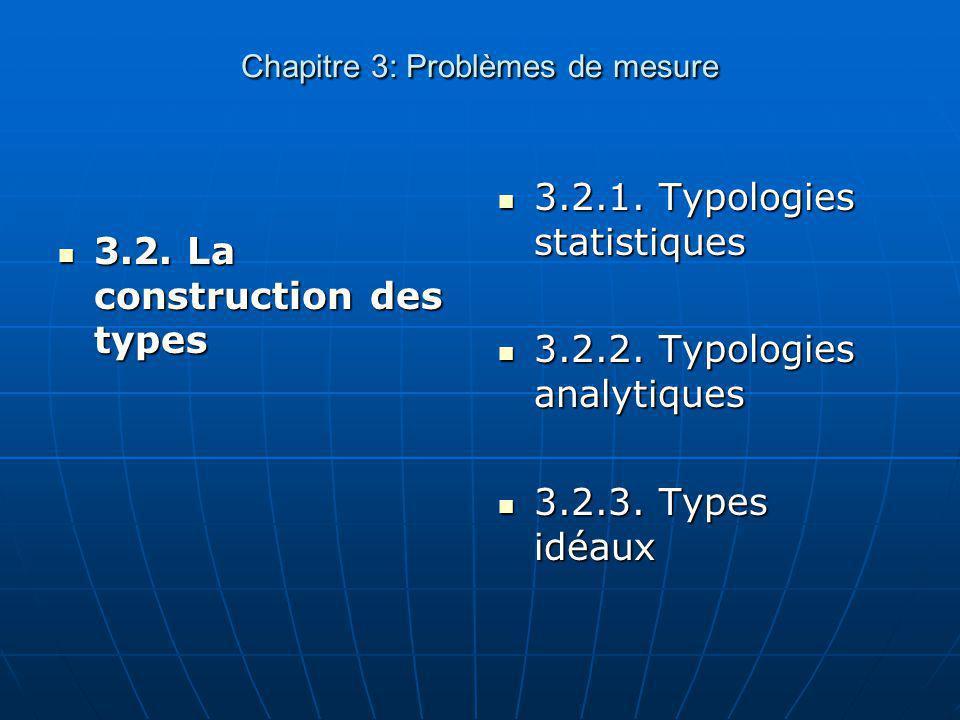 Chapitre 3: Problèmes de mesure 3.2. La construction des types 3.2. La construction des types 3.2.1. Typologies statistiques 3.2.1. Typologies statist