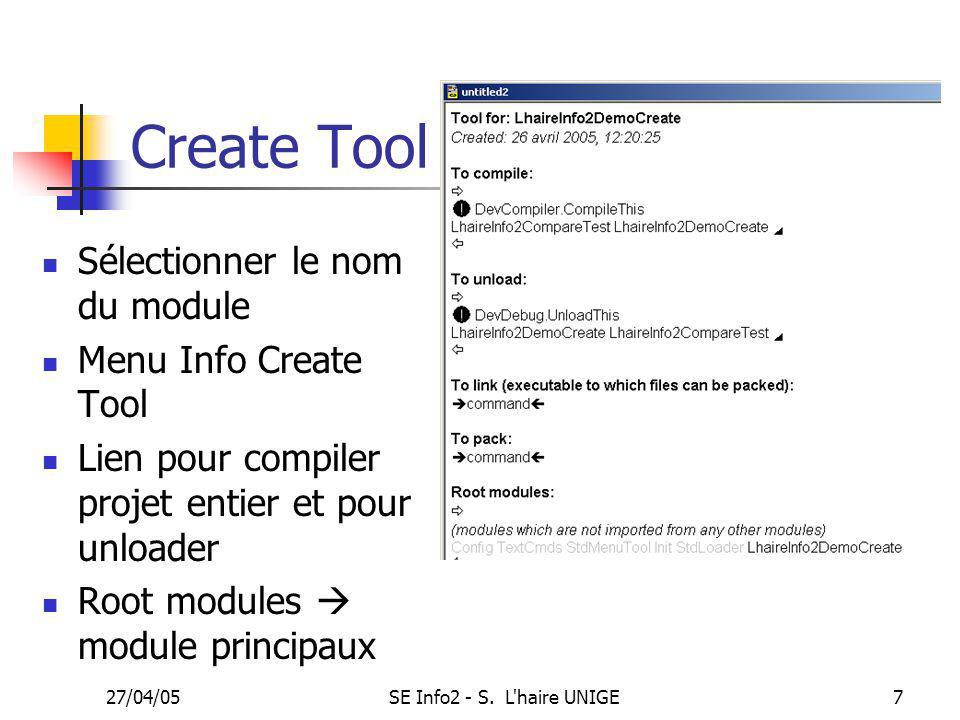 27/04/05SE Info2 - S.L haire UNIGE8 TP9: faire une interface simple.