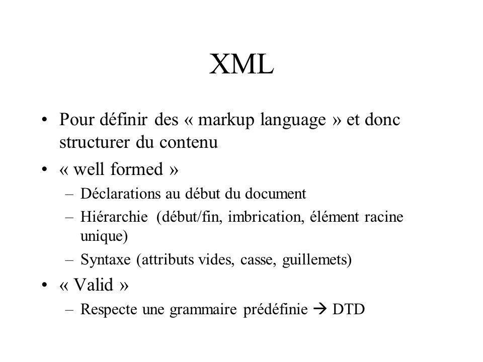 XML (exemple) Belgian Waffles $5.95 two of our famous Belgian Waffles 650 http://www.w3schools.com/xml/default.asp http://tecfa.unige.ch/guides/tie/tie.html#subtitle2.10