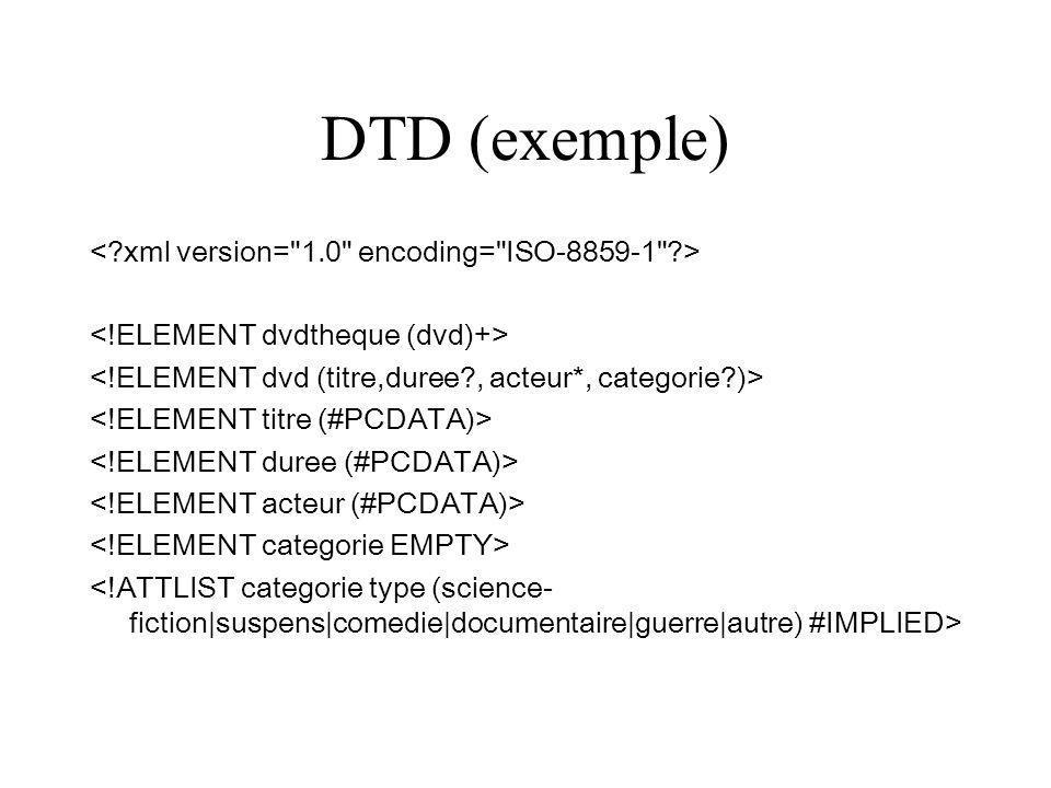 XSL Règles de transformation de xml en autre chose, par exemple en xhtml On peut lier un fichier xml à du xsl dans le fichier xml : On peut aussi associer avec php (par exemple): $xslt = xslt_create(); $resultat = xslt_process($xslt, fichier.xml, stye.xsl);