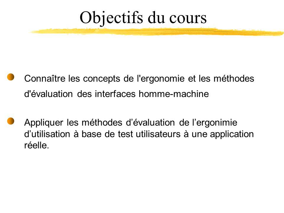 Appliquer les méthodes dévaluation de lergonimie dutilisation à base de test utilisateurs à une application réelle.