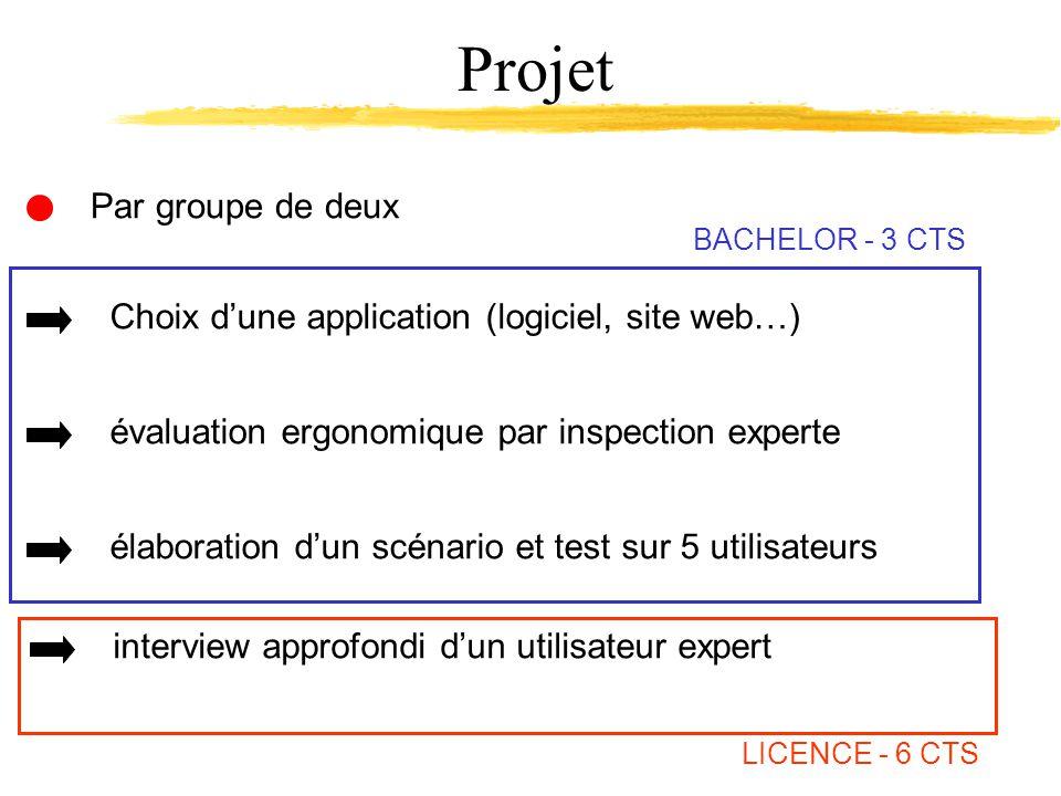 Par groupe de deux Projet Choix dune application (logiciel, site web…) évaluation ergonomique par inspection experte élaboration dun scénario et test sur 5 utilisateurs interview approfondi dun utilisateur expert BACHELOR - 3 CTS LICENCE - 6 CTS