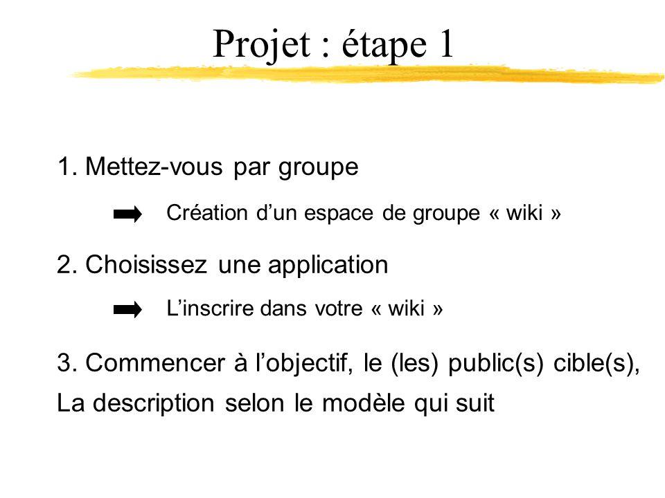 1. Mettez-vous par groupe Projet : étape 1 Création dun espace de groupe « wiki » 2.
