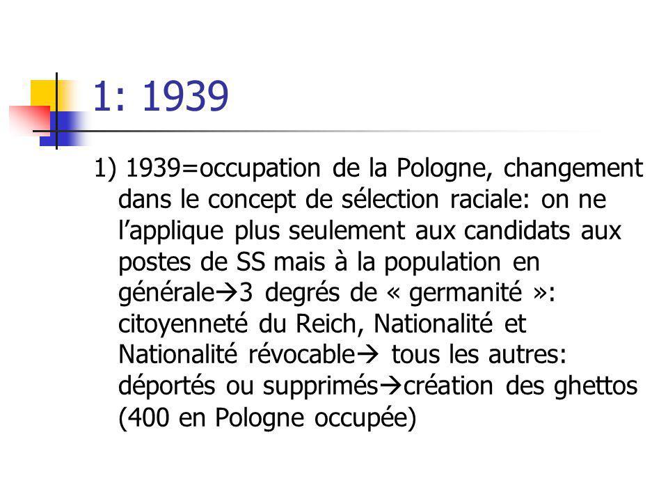 1: 1939 1) 1939=occupation de la Pologne, changement dans le concept de sélection raciale: on ne lapplique plus seulement aux candidats aux postes de