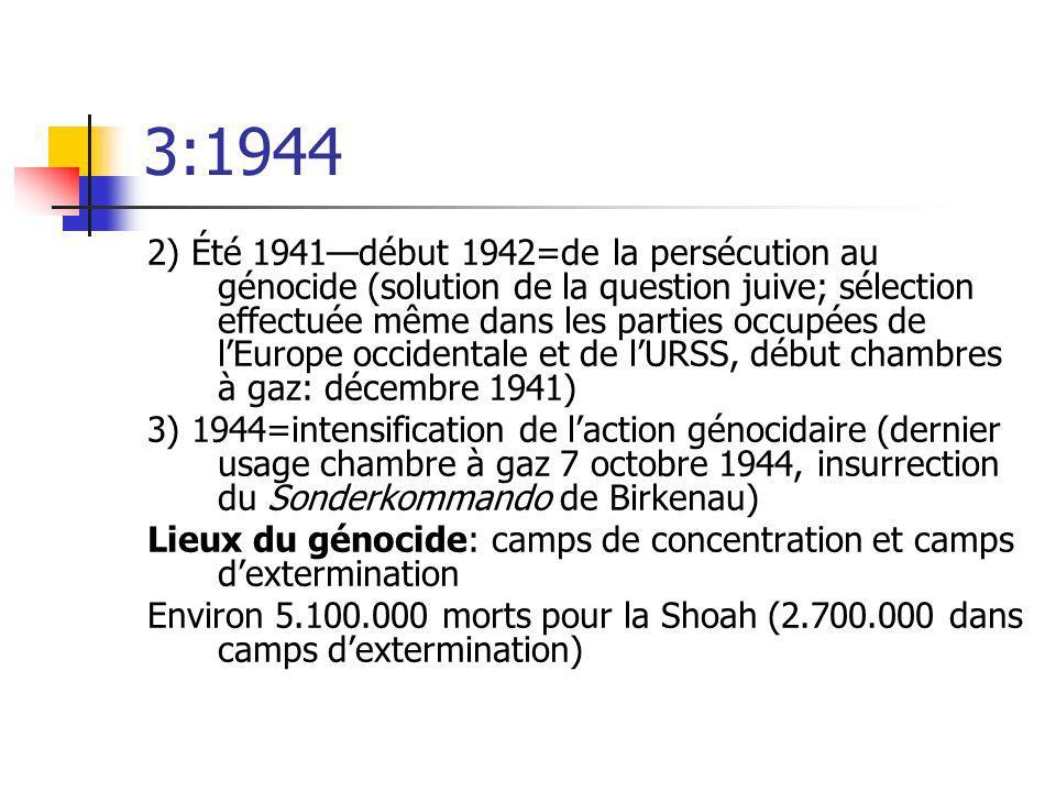 3:1944 2) Été 1941début 1942=de la persécution au génocide (solution de la question juive; sélection effectuée même dans les parties occupées de lEuro