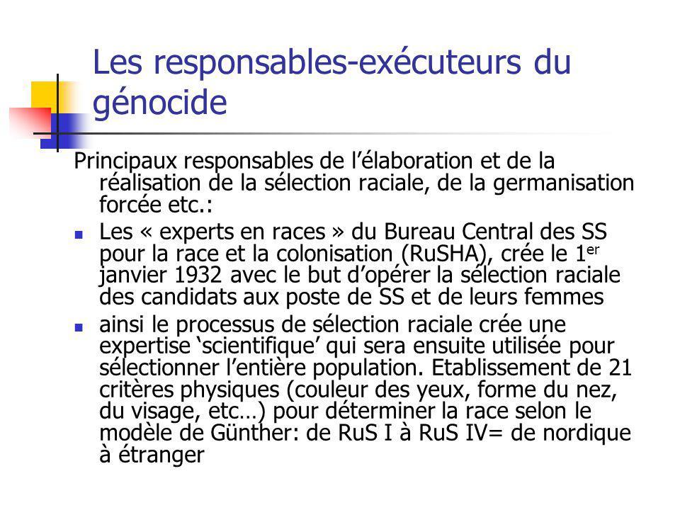 Les responsables-exécuteurs du génocide Principaux responsables de lélaboration et de la réalisation de la sélection raciale, de la germanisation forc