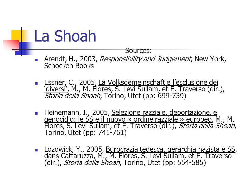 La Shoah Sources: Arendt, H., 2003, Responsibility and Judgement, New York, Schocken Books Essner, C., 2005, La Volksgemeinschaft e lesclusione dei di