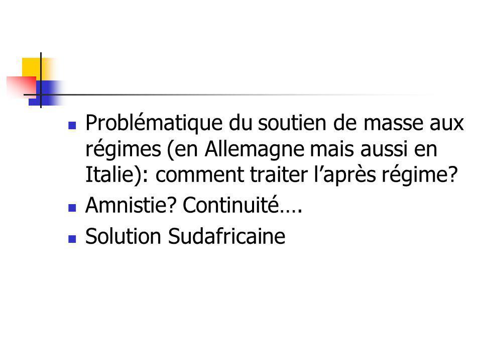 Problématique du soutien de masse aux régimes (en Allemagne mais aussi en Italie): comment traiter laprès régime? Amnistie? Continuité…. Solution Suda