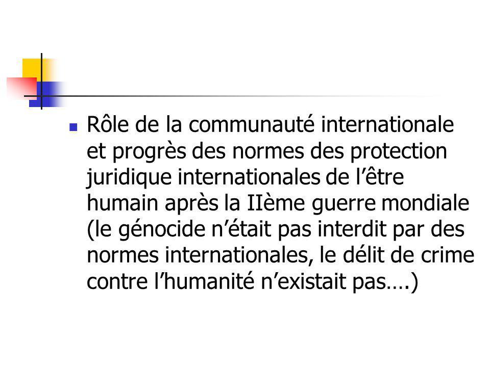 Rôle de la communauté internationale et progrès des normes des protection juridique internationales de lêtre humain après la IIème guerre mondiale (le