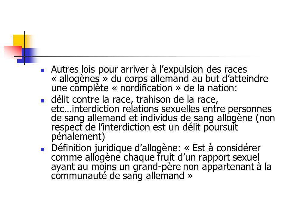 Autres lois pour arriver à lexpulsion des races « allogènes » du corps allemand au but datteindre une complète « nordification » de la nation: délit c