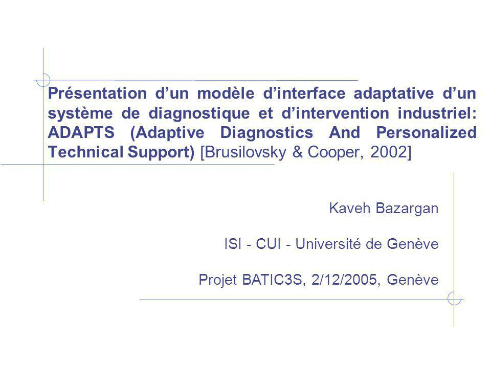 Présentation dun modèle dinterface adaptative dun système de diagnostique et dintervention industriel: ADAPTS (Adaptive Diagnostics And Personalized Technical Support) [Brusilovsky & Cooper, 2002] Kaveh Bazargan ISI - CUI - Université de Genève Projet BATIC3S, 2/12/2005, Genève