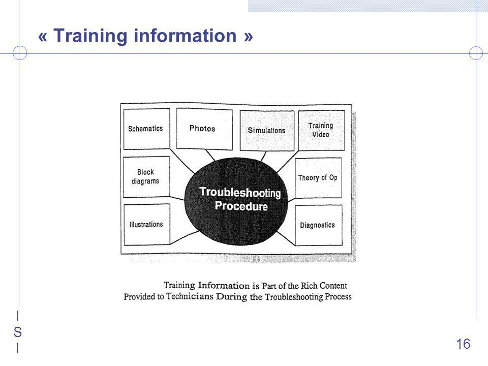 ISIISI 16 « Training information »