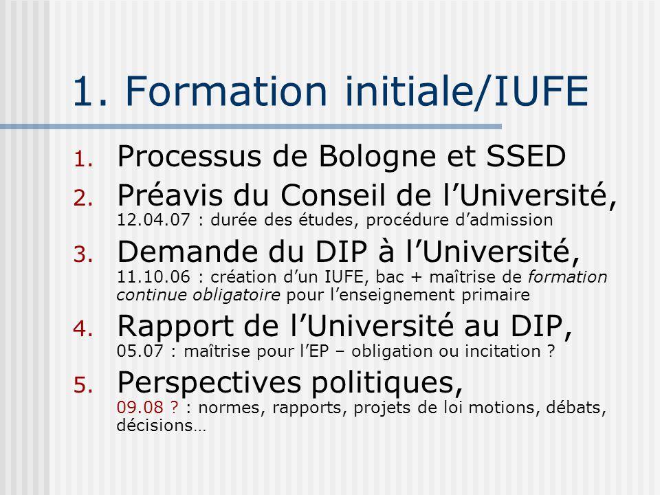 1. Formation initiale/IUFE 1. Processus de Bologne et SSED 2. Préavis du Conseil de lUniversité, 12.04.07 : durée des études, procédure dadmission 3.