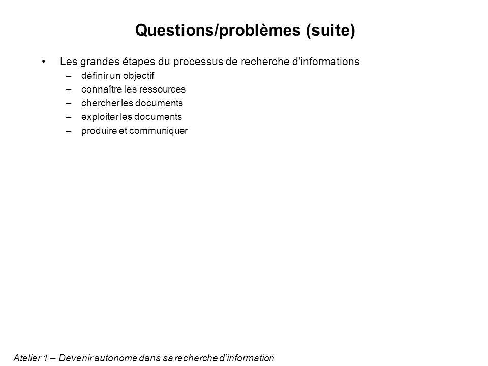 Questions/problèmes prioritaires Solutions potentielles Atelier 1 – Devenir autonome dans sa recherche dinformation quel regard critique sur l information.