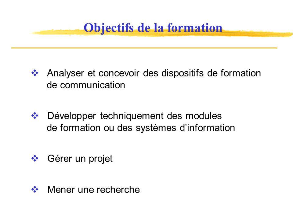 Objectifs de la formation Analyser et concevoir des dispositifs de formation de communication Développer techniquement des modules de formation ou des systèmes dinformation Gérer un projet Mener une recherche