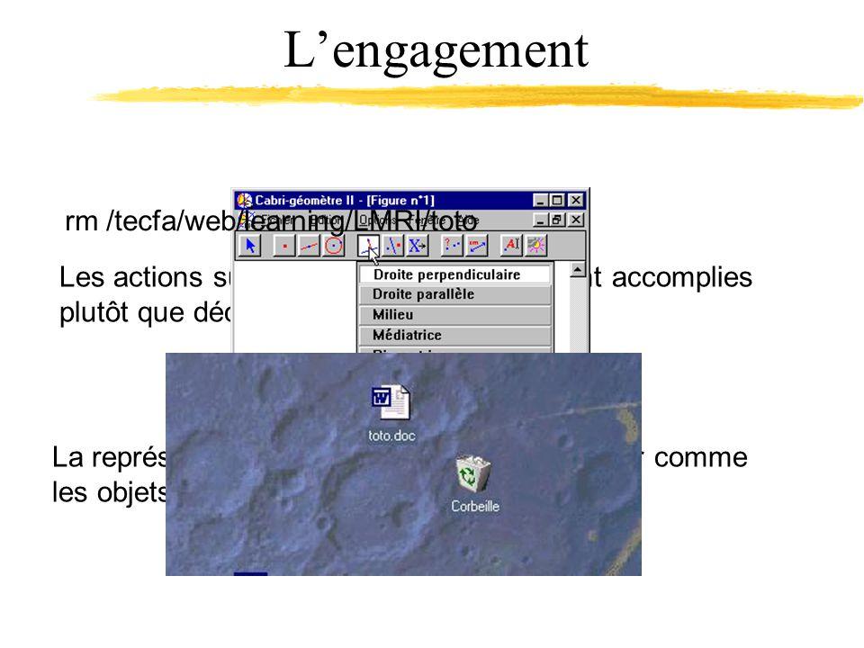 Lengagement Les actions sur les objets sont directement accomplies plutôt que décrites.