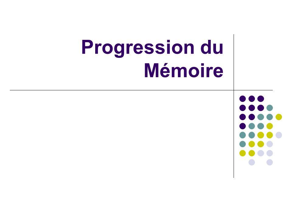 Progression du Mémoire