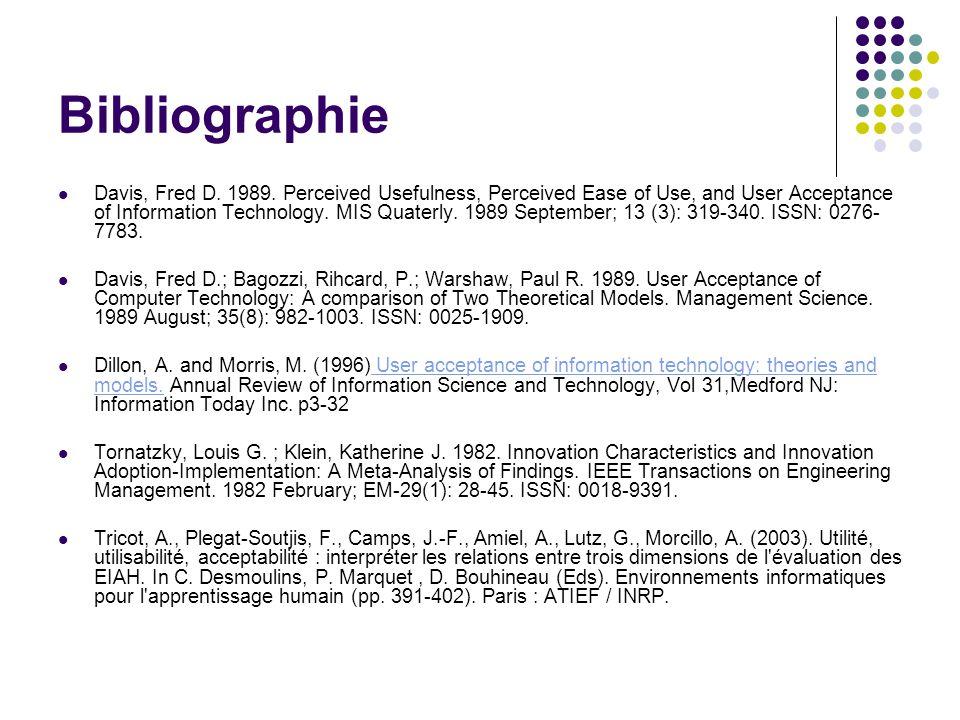 Bibliographie Davis, Fred D. 1989.