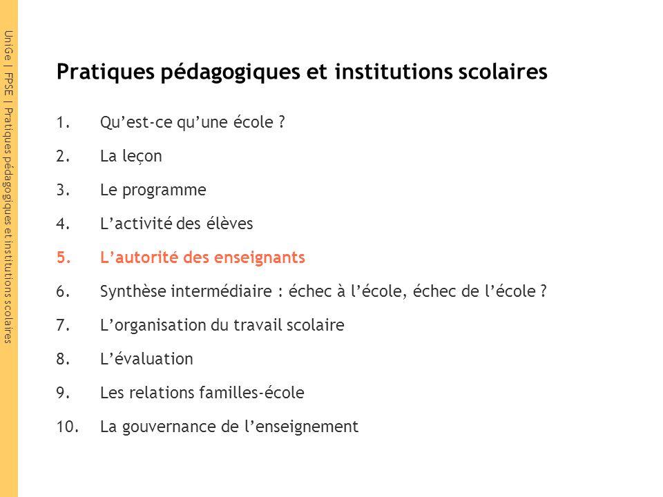 UniGe | FPSE | Pratiques pédagogiques et institutions scolaires 5.