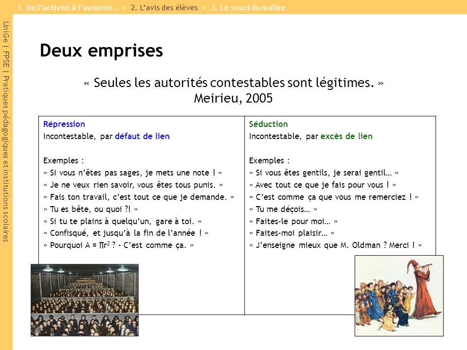 UniGe | FPSE | Pratiques pédagogiques et institutions scolaires Deux emprises « Seules les autorités contestables sont légitimes. » Meirieu, 2005 Répr