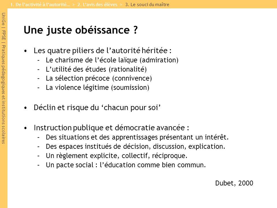 UniGe | FPSE | Pratiques pédagogiques et institutions scolaires Une juste obéissance .