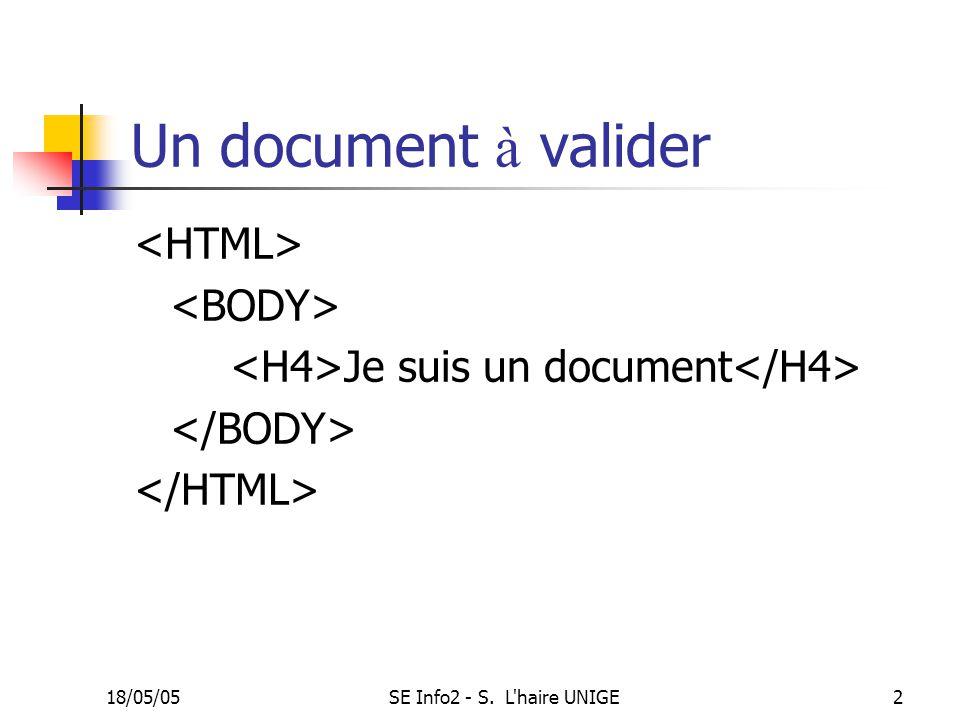 18/05/05SE Info2 - S. L haire UNIGE2 Un document à valider Je suis un document