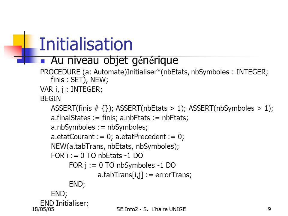 18/05/05SE Info2 - S. L'haire UNIGE9 Initialisation Au niveau objet g é n é rique PROCEDURE (a: Automate)Initialiser*(nbEtats, nbSymboles : INTEGER; f