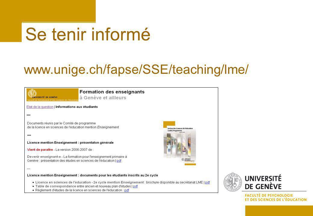 Se tenir informé www.unige.ch/fapse/SSE/teaching/lme/