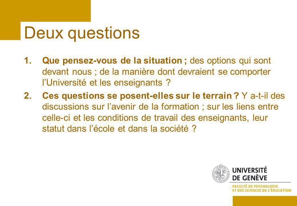 Deux questions 1.Que pensez-vous de la situation ; des options qui sont devant nous ; de la manière dont devraient se comporter lUniversité et les enseignants .