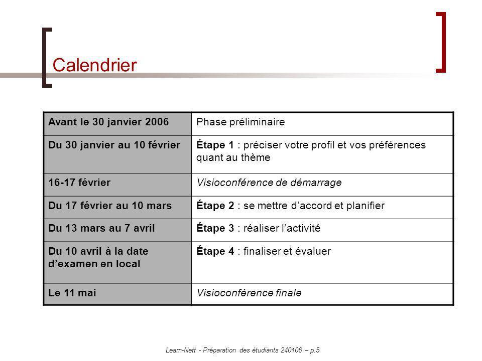 Learn-Nett - Préparation des étudiants 240106 – p.5 Calendrier Avant le 30 janvier 2006Phase préliminaire Du 30 janvier au 10 févrierÉtape 1 : précise