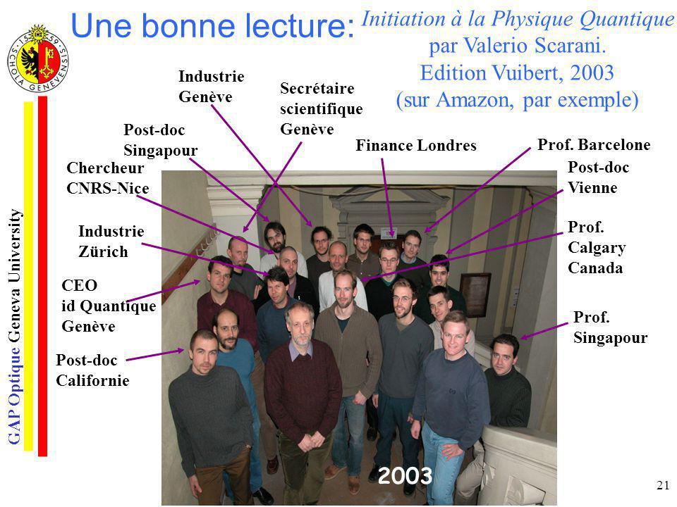 GAP Optique Geneva University 21 Initiation à la Physique Quantique par Valerio Scarani. Edition Vuibert, 2003 (sur Amazon, par exemple) Une bonne lec