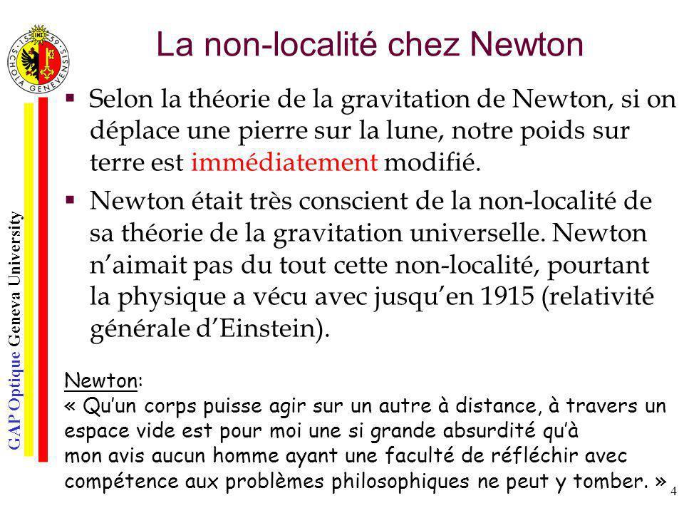 GAP Optique Geneva University 4 La non-localité chez Newton Selon la théorie de la gravitation de Newton, si on déplace une pierre sur la lune, notre
