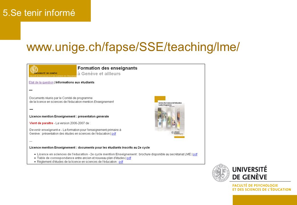 www.unige.ch/fapse/SSE/teaching/lme/ 5.Se tenir informé