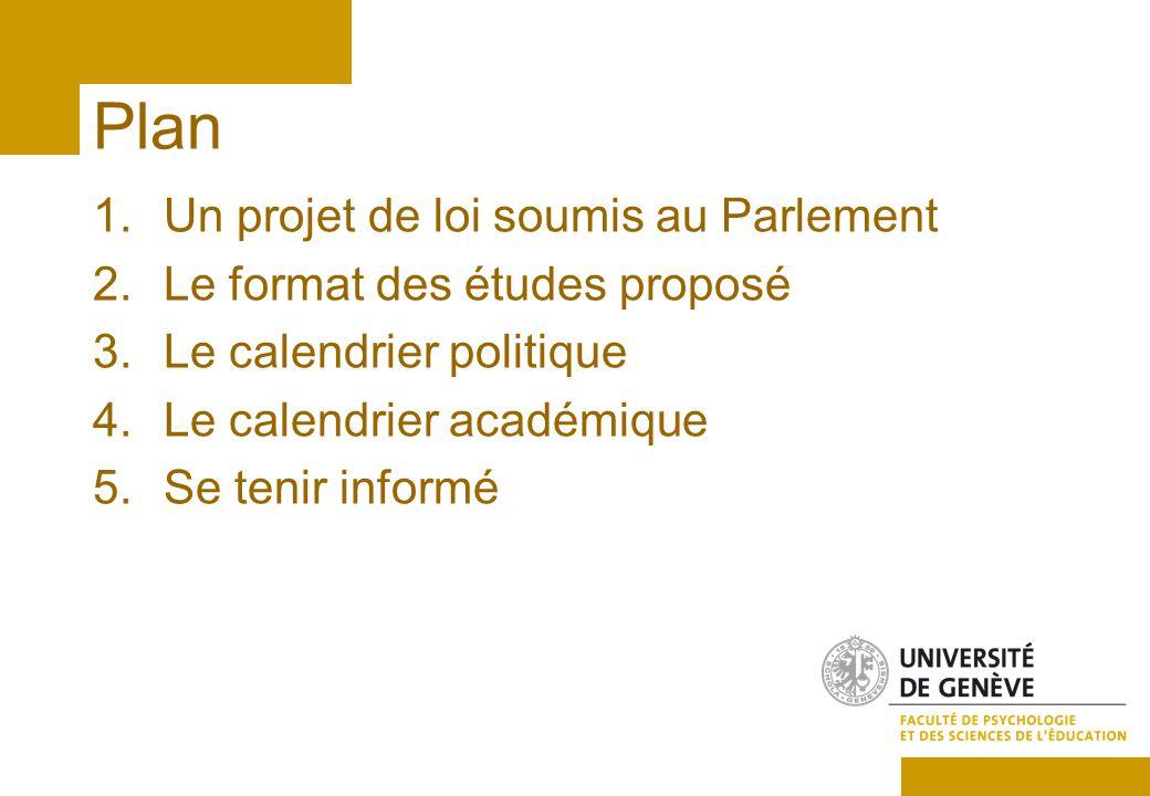 Plan 1.Un projet de loi soumis au Parlement 2.Le format des études proposé 3.Le calendrier politique 4.Le calendrier académique 5.Se tenir informé