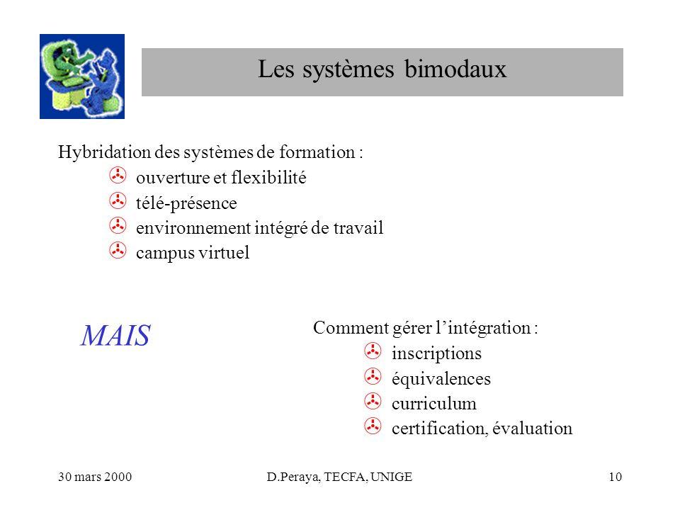 30 mars 2000D.Peraya, TECFA, UNIGE10 Les systèmes bimodaux Hybridation des systèmes de formation : > ouverture et flexibilité > télé-présence > enviro