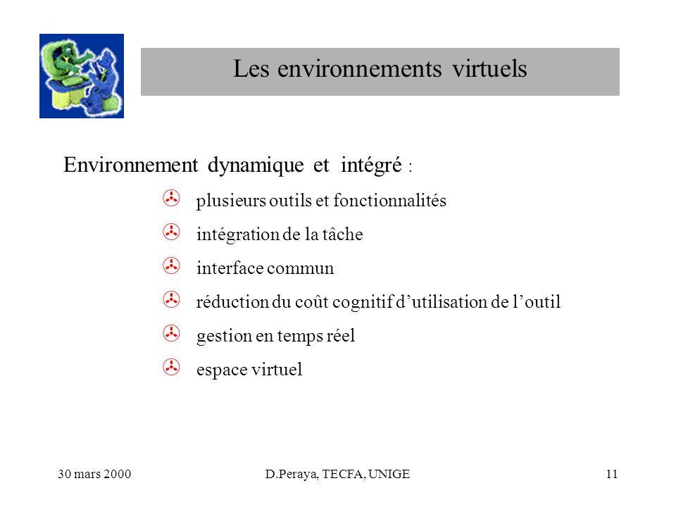 30 mars 2000D.Peraya, TECFA, UNIGE11 Les environnements virtuels Environnement dynamique et intégré : > plusieurs outils et fonctionnalités > intégrat
