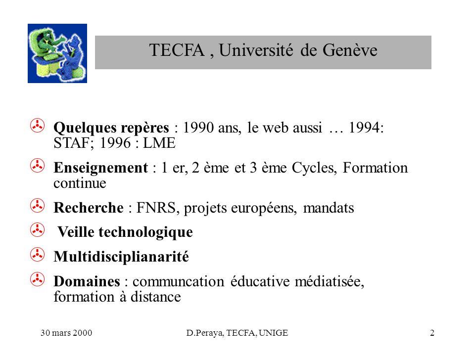 30 mars 2000D.Peraya, TECFA, UNIGE2 > Quelques repères : 1990 ans, le web aussi … 1994: STAF; 1996 : LME > Enseignement : 1 er, 2 ème et 3 ème Cycles,
