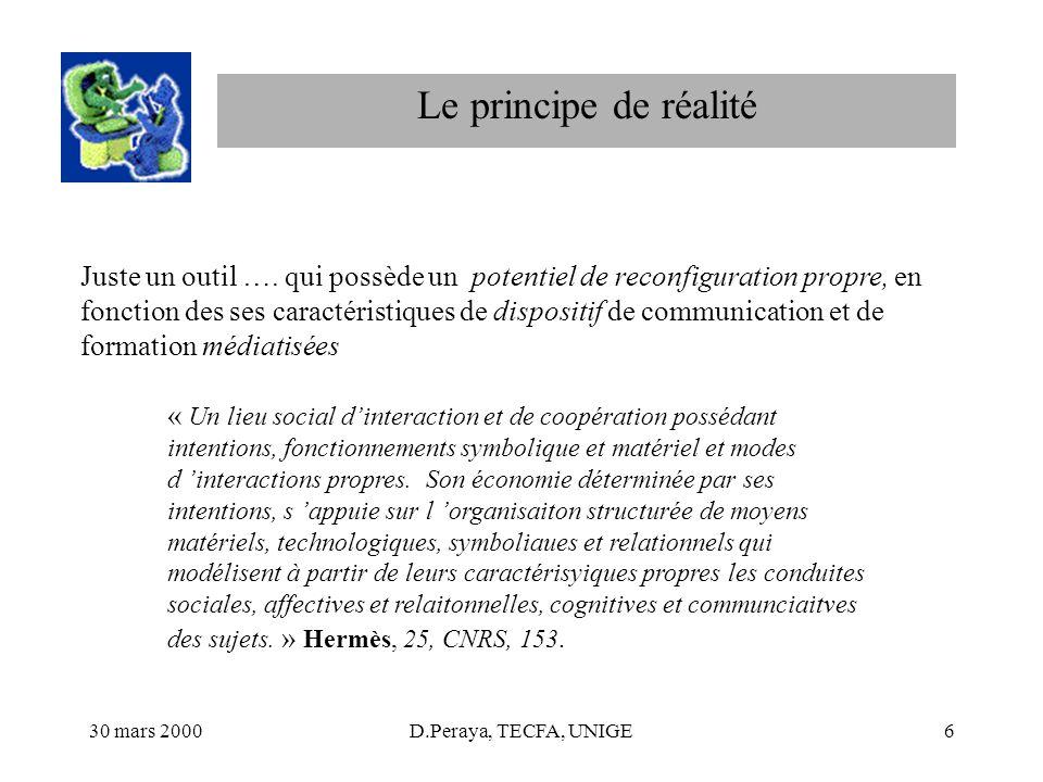 30 mars 2000D.Peraya, TECFA, UNIGE6 Le principe de réalité Juste un outil …. qui possède un potentiel de reconfiguration propre, en fonction des ses c