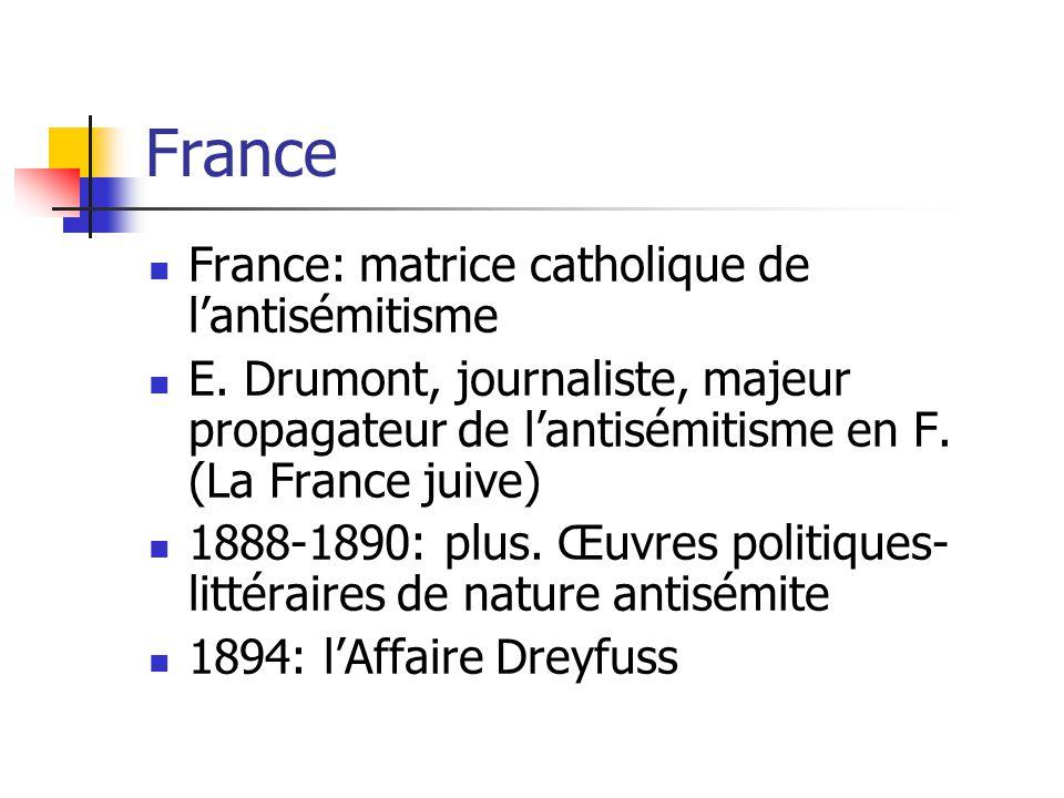 France France: matrice catholique de lantisémitisme E.