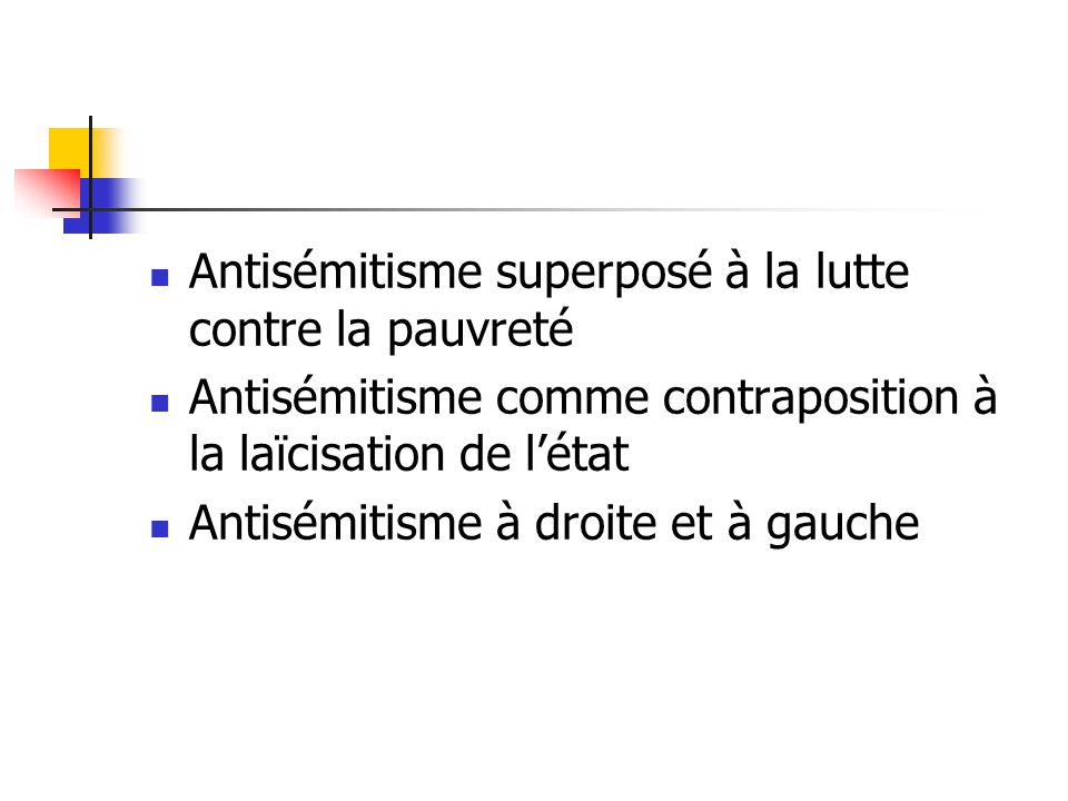 Antisémitisme superposé à la lutte contre la pauvreté Antisémitisme comme contraposition à la laïcisation de létat Antisémitisme à droite et à gauche