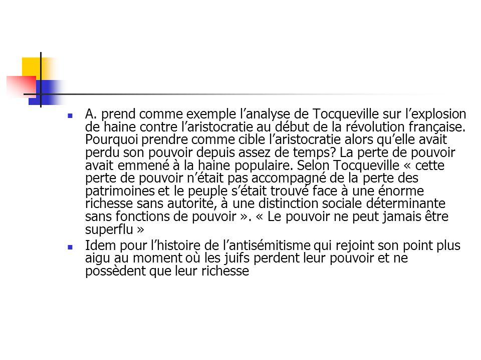 A. prend comme exemple lanalyse de Tocqueville sur lexplosion de haine contre laristocratie au début de la révolution française. Pourquoi prendre comm