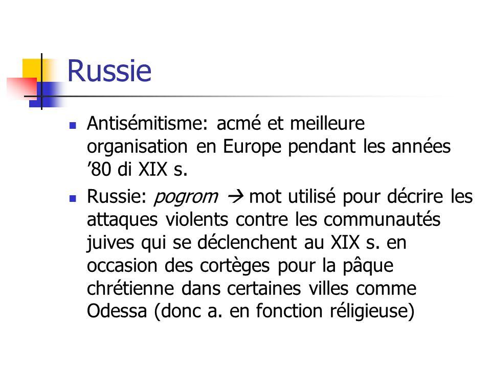 Russie Antisémitisme: acmé et meilleure organisation en Europe pendant les années 80 di XIX s.