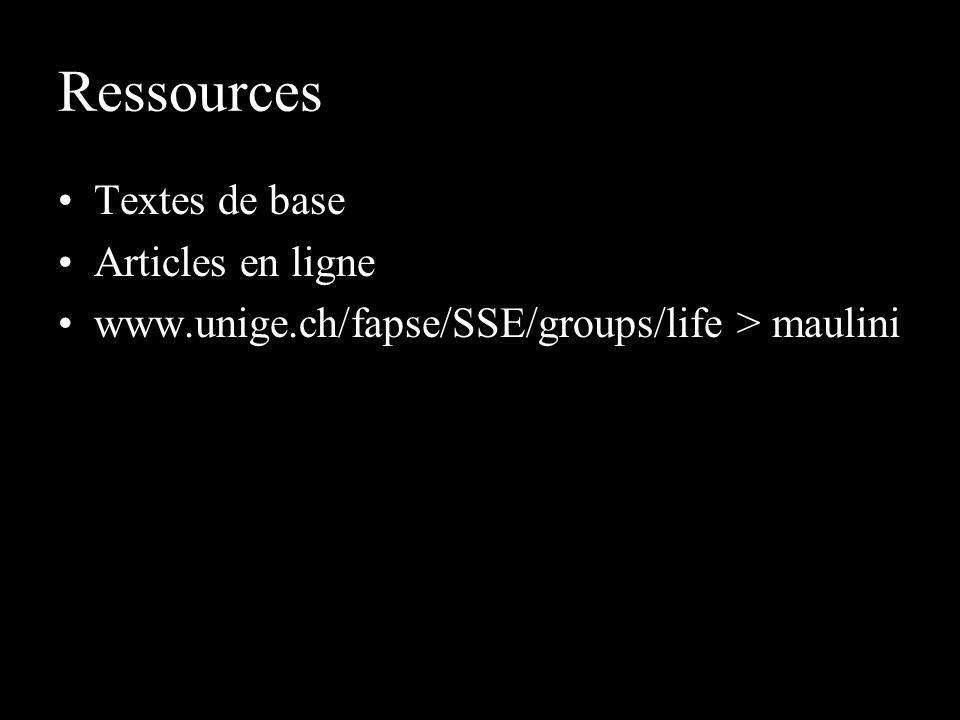 Ressources Textes de base Articles en ligne www.unige.ch/fapse/SSE/groups/life > maulini
