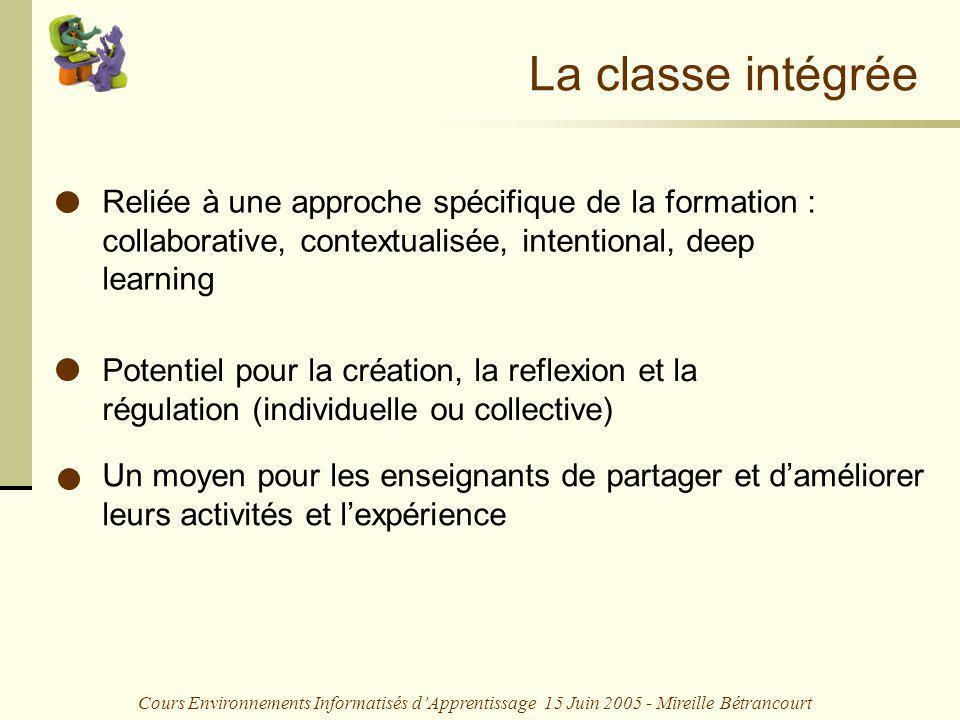 Cours Environnements Informatisés dApprentissage 15 Juin 2005 - Mireille Bétrancourt Un moyen pour les enseignants de partager et daméliorer leurs act