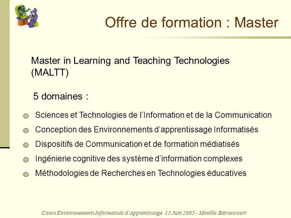 Cours Environnements Informatisés dApprentissage 15 Juin 2005 - Mireille Bétrancourt 4.