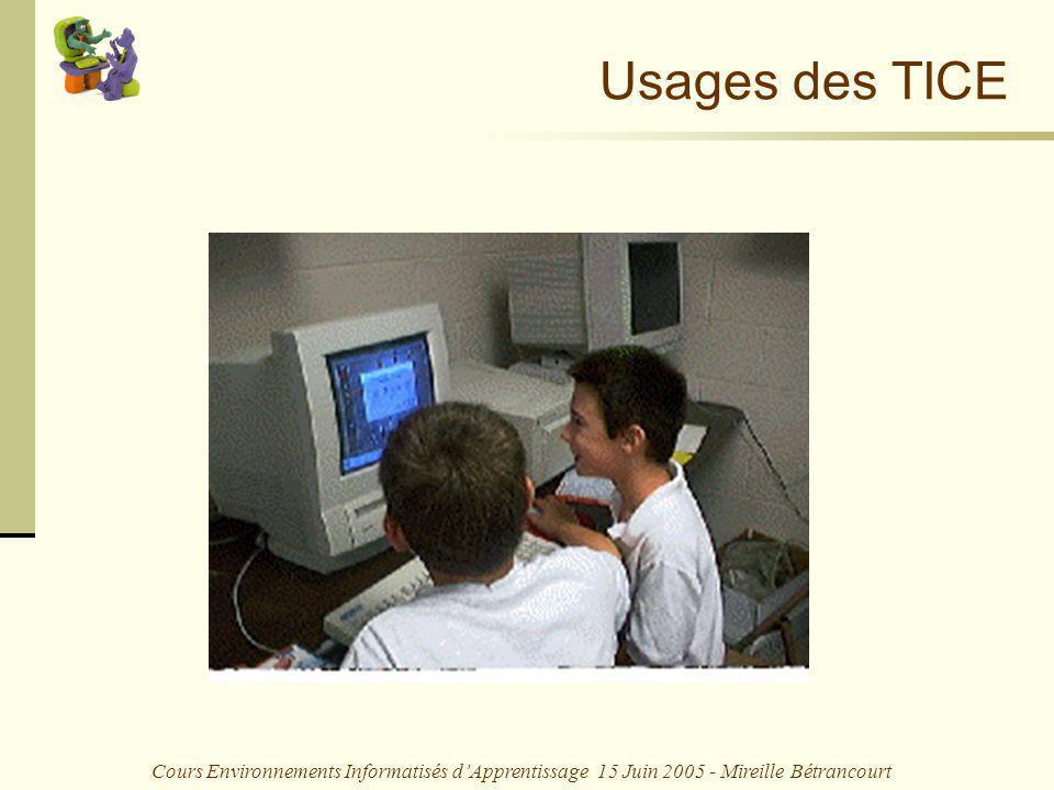 Cours Environnements Informatisés dApprentissage 15 Juin 2005 - Mireille Bétrancourt Usages des TICE