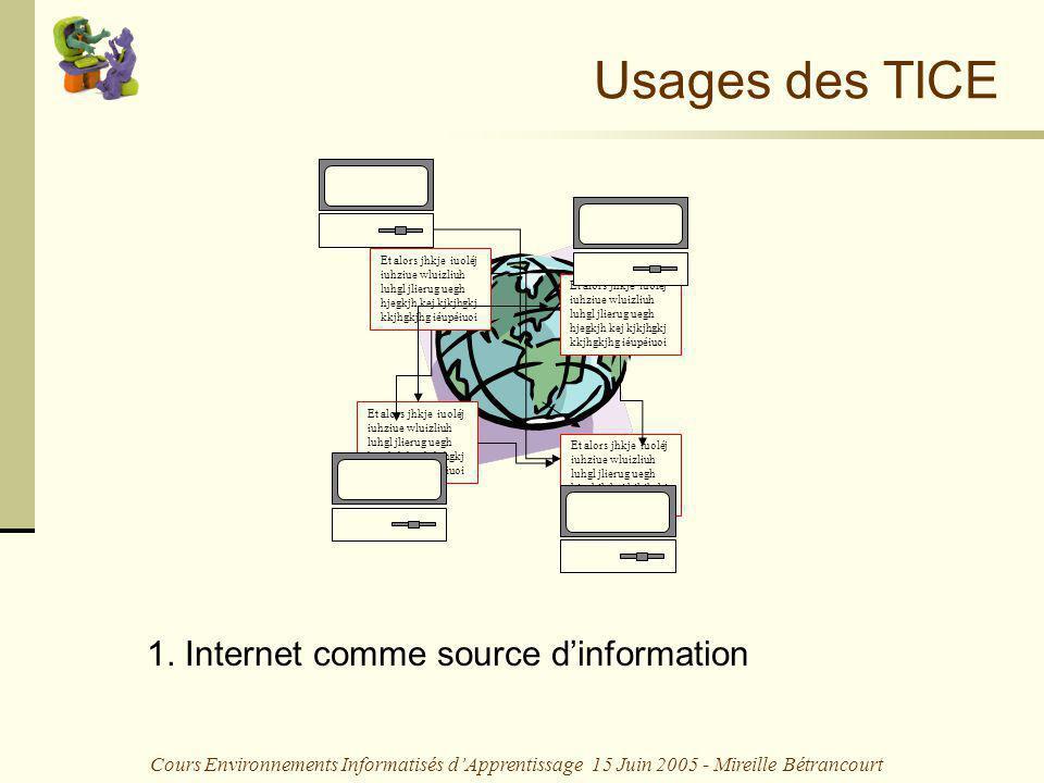 Cours Environnements Informatisés dApprentissage 15 Juin 2005 - Mireille Bétrancourt Usages des TICE 1. Internet comme source dinformation Et alors jh